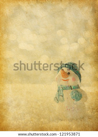 retro image with  happy snowman. old paper - stock photo