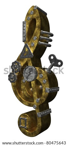 retro industrial clef on white background - 3d illustration - stock photo