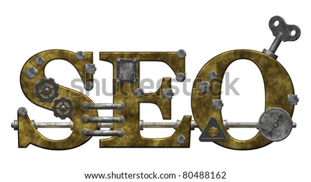 retro industrial letters seo on white background - 3d illustration