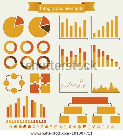 Retro infographics. Set of charts, graphs and icons - vintage details for presentation and design. Raster illustration. - stock photo