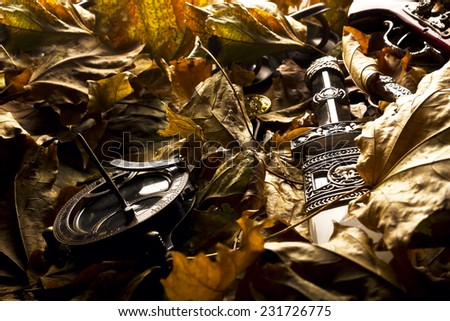 retro inventory in leaves - stock photo