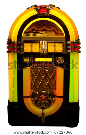 Retro jukebox isolated on white - stock photo
