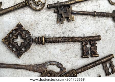 Retro key - business security, made inTurkey. - stock photo