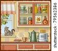 Retro kitchen - stock vector