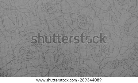 Retro Lace Floral Seamless Pattern Monotone Black and White Rose Fabric Background Vintage Style - stock photo