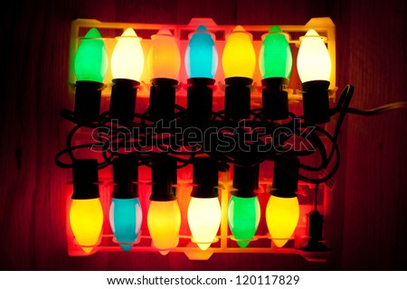 Retro Large colored holiday lights - stock photo