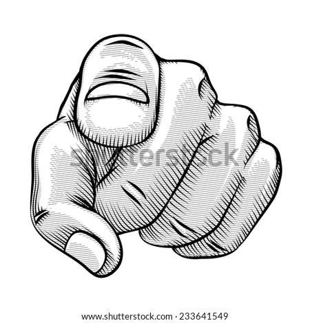 Retro line drawing of a pointing finger and human hand pointing directly at the viewer - stock photo