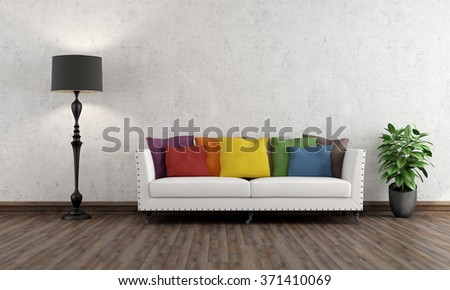 Retro living room with colorful couch on wooden floor - 3D rendering - stock photo
