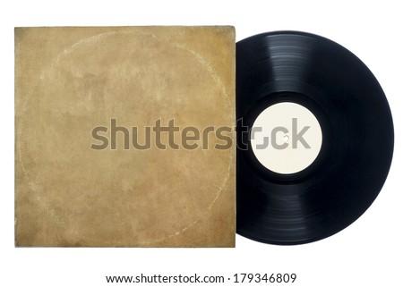 Retro Long Play Vinyl Record With Sleeve. - stock photo