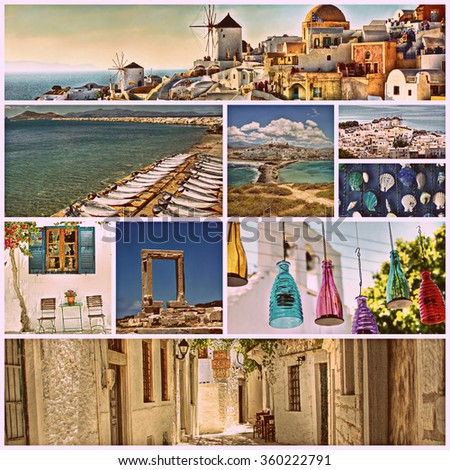 retro look filter used on a collection of images from  the beautiful Greek islands - stock photo