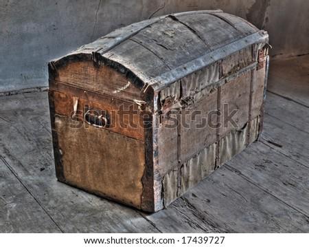 Retro look of ancient wooden box like pirate treasure chest. - stock photo