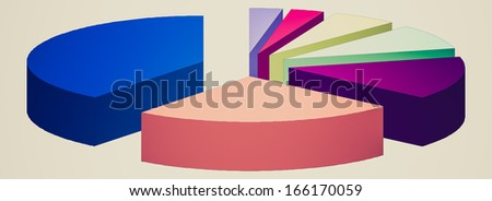 Retro looking Pie chart graph illustration isolated over white