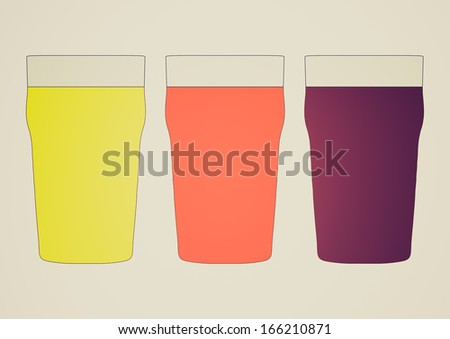 Retro looking Three pints of British beer including lager, bitter and stout - stock photo