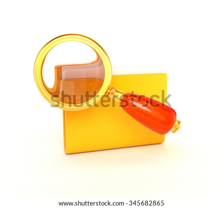 Retro magnifying glass icon and a golden yellow folder isolated on a white background. Seomarketing. 3d illustration. - stock photo