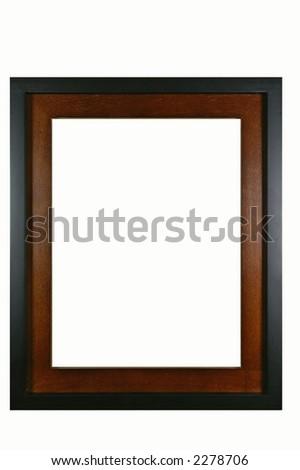 Retro mahogany photo frame - isolated on white background - stock photo