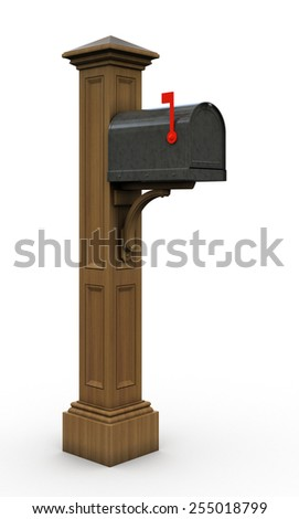 Retro  mailbox isolated on white background 3D - stock photo