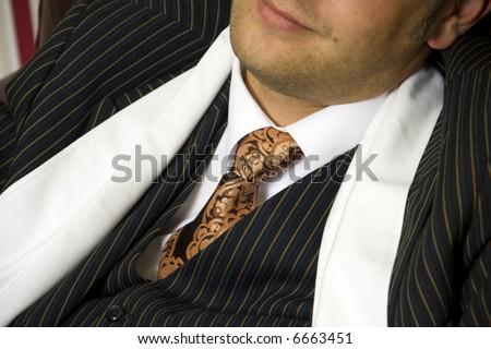 retro. man in three-piece suit. - stock photo