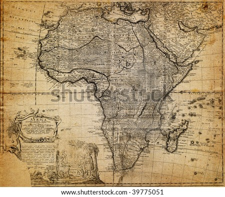 retro map, 18 century (Africa) - stock photo