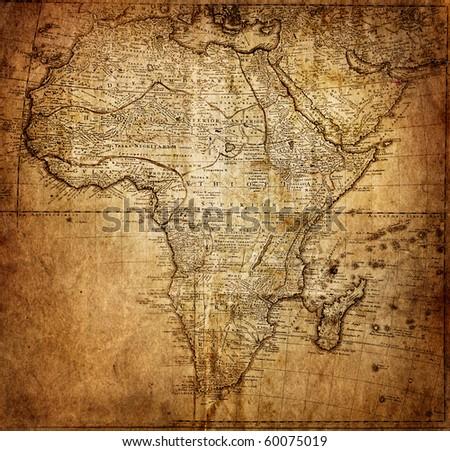 retro map, 18 century (Africa) - stock photo