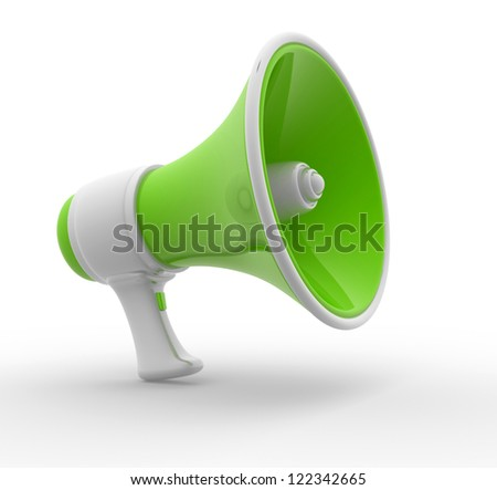 Retro megaphone isolated on white. 3d render illustration - stock photo