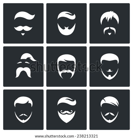Retro Mens Hair Styles icon set Isolated on a black background - stock photo