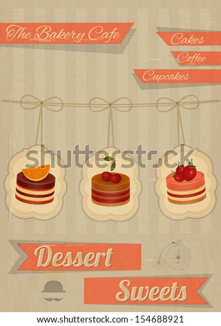 Retro Menu for the Cafe, Pastry Shop, Confectionery - Strawberry, chocolate and cherry Cake  - JPEG version