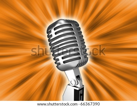 Retro metal microphone over background. 3d render - stock photo