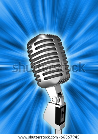 Retro metal microphone over blue. 3d render - stock photo