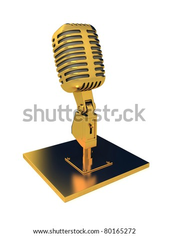 Retro metal microphone over white. 3d render - stock photo