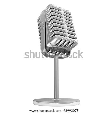 Retro Metallic Microphone isolated on white background - stock photo