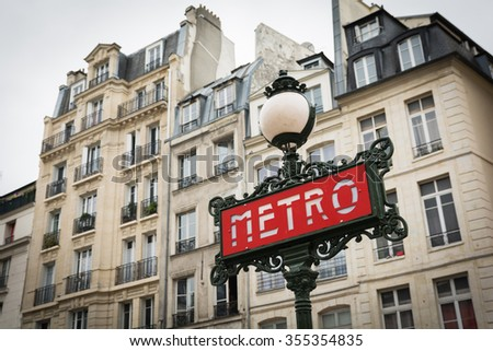 Retro Metro sign in Paris France