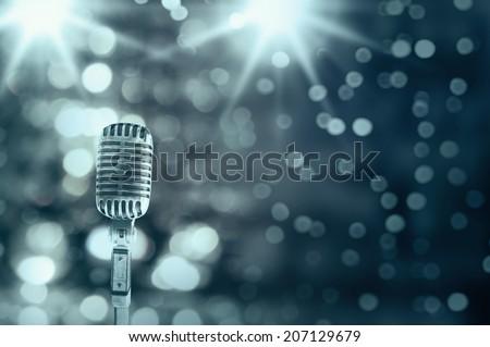 Retro microphone - stock photo