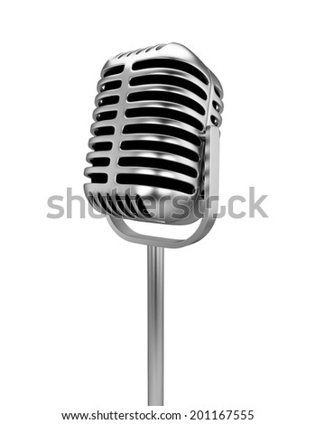 Retro microphone. 3d illustration isolated on white background - stock photo