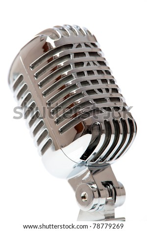 Retro Microphone isolated against white - stock photo