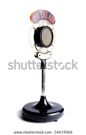 retro microphone isolated on white