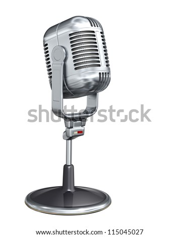 Retro microphone - isolated on white background