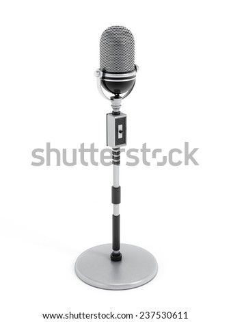 Retro microphone isolated on white background.
