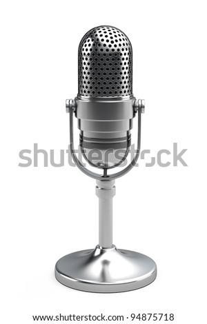 Retro microphone isolated on white background - stock photo