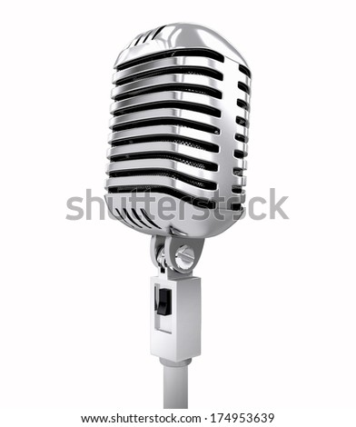 Retro microphone. isolated on white. 3d illustration - stock photo