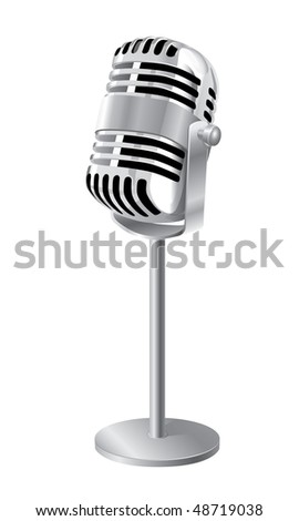 Retro Microphone On Stand Isolated Over White (in the gallery also available vector version of this image) - stock photo