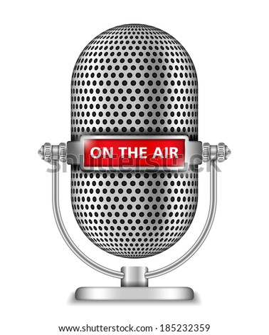 Retro microphone on the air - stock photo