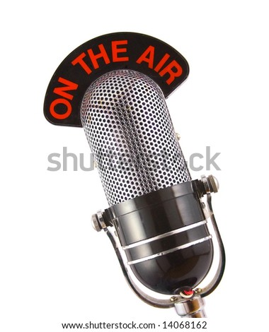 Retro microphone used for radio, talk back, news broadcasts - stock photo