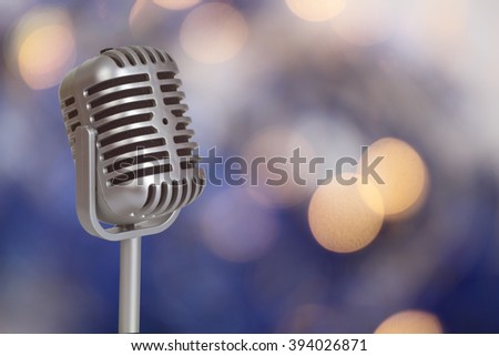 Retro Microphone with bokeh background_This is no SHURE Microphone - stock photo