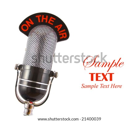 Retro Microphone with copy space isolated over white background