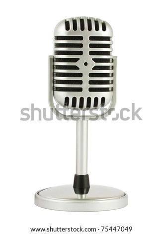 Retro microphone with stand isolated on white background - stock photo