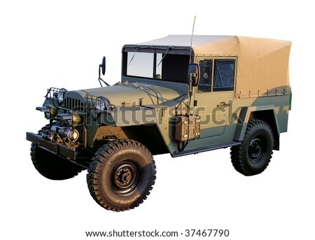 Retro military 4x4 car WW2 period isolated with clipping path - stock photo