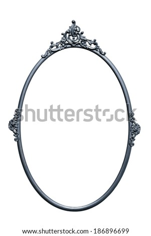 Retro mirror frame, metallic color, isolated on white, isolated on white (clipping paths included) - stock photo