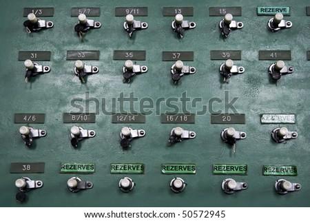 retro mixing console - stock photo
