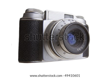 Retro 35 mm camera isolated on white