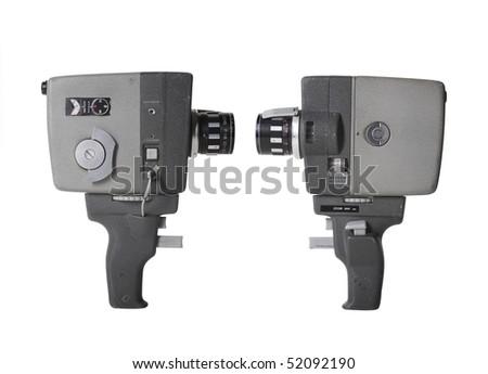 Retro 8 mm film camera isolated - stock photo